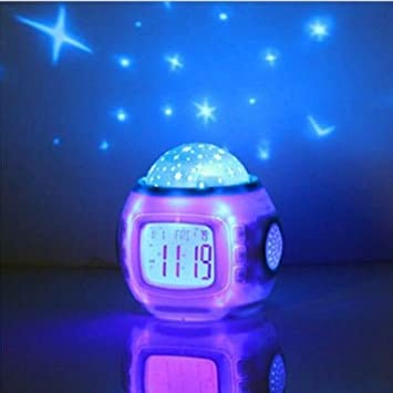 Towallmark Sky Star Night Light Projector Lamp Bedroom Clock Alarm Music