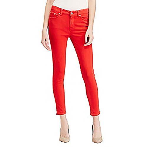 Back Zip Leather Jeans (RALPH LAUREN Lauren Premier Cropped Skinny Jeans (Fresh Tomato Wash, 4))