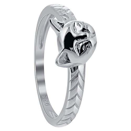 Gem Avenue Rhodium Plated 925 Sterling Silver Cat Ring -