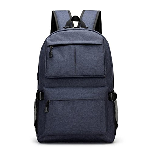 KONFA Teen Boys Girls USB External Charging Travel/School Backpack Student Bags Laptop Bag (Blue) by KONFA
