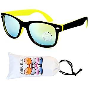 Kd04-vp Kids Child (2-10yr Old) Wayfarer 80s Sunglasses (S3239V Black/Neon Yellow-Lime Mirror, smoked)