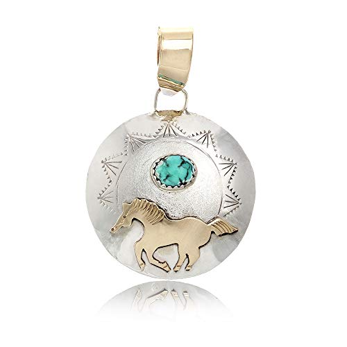 $215Tag Horse 12ktGF Silver Certified Very Navajo Native Turquoise Pendant 24510-1 Made by Loma Siiva