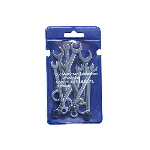 家庭用ツール 様々な修理のための10pcsレンチミニデュアル使用磨き、耐久性のあるポケットレンチ (Size : Metric system)