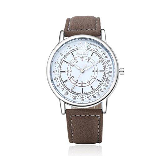 Ouneed® Uhren,Mode Herren Edelstahl Leder Band Analog Quarz Art und Militär Armbanduhr (Weiß)