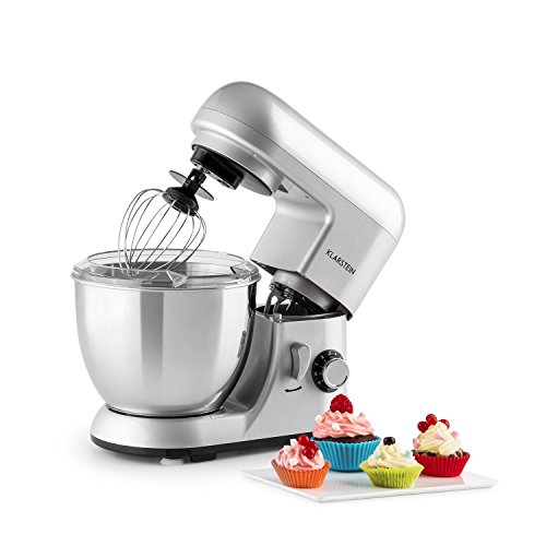 Beater Dough Hook Wire Whip - KLARSTEIN Pico • Tilt-Head Stand Mixer • Dough Hook, Flat Beater, Wire Whip • 550 Watts • 4.2 qt Stainless Steel Bowl • Planetary Mixing Action • 6 Speeds • Multifunctional • silver