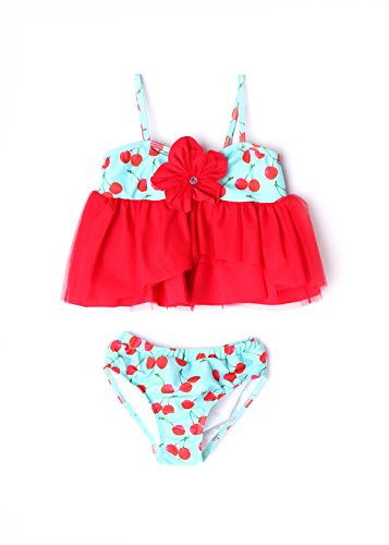 Apple Blossom by Isobella and Chloe Baby & Girl Cherry Tankini 2 Piece Set (4) ()