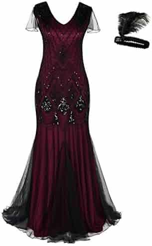 5a05368ce36 Women 1920s Flapper Cocktail Maxi Long Gatsby Evening Dress Mermaid Formal  Gown