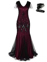 General Women 1920s Flapper Maxi Long Gatsby Evening Dress Mermaid Formal Gown