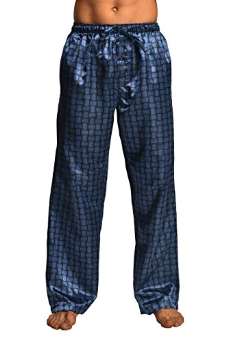 Mens Silk Pant - CYZ Men's Satin Pajama Pants-Blue Dot-L