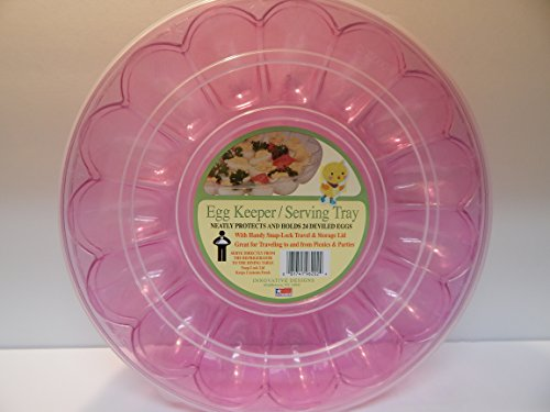 Spring Holiday Dyed Eggs Easter Eggs Colored Eggs Deviled Eggs Tray with Lid Pink Holds 24 Snap On Lid Deviled Egg Tray Deviled Egg Carrier with Lid