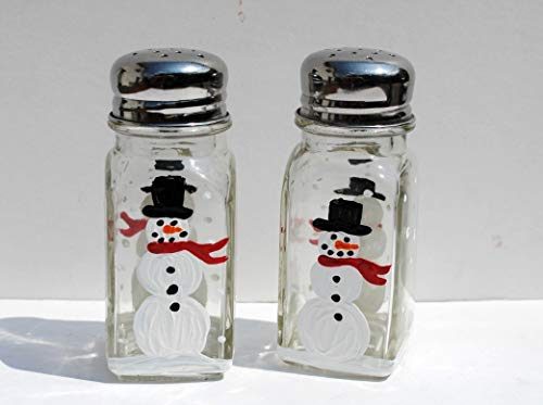 (Hand Painted Christmas Snowman Salt and Pepper Shakers Set, Holiday Kitchen Decor)