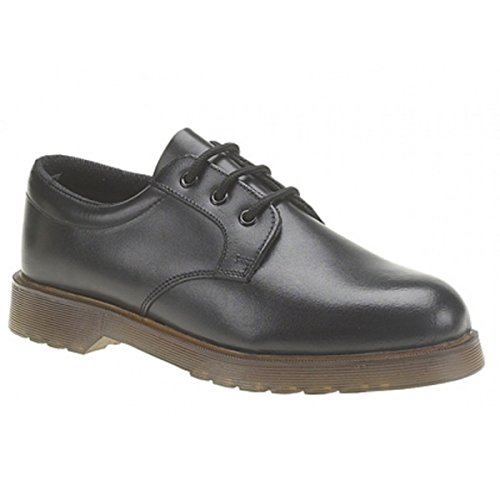 Mens Grafters Uniform Black Leather Air Cushioned Sole Work Shoes Heat Oil Petrol Resistant Soles Size 6