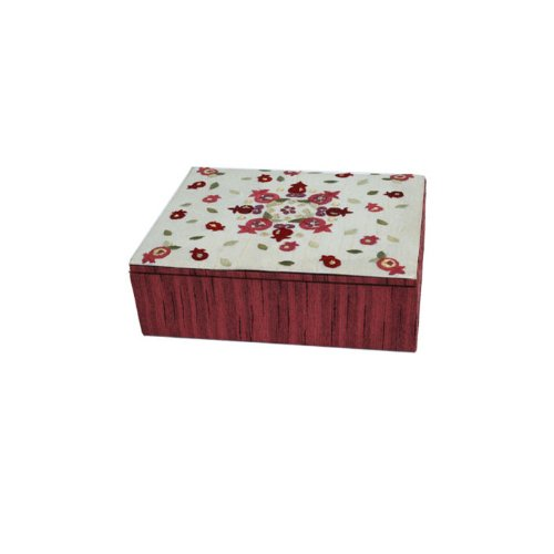 Bat Mitzvah Box - Yair Emanuel Embroidered Jewelry Box with Pomegranate Design Maroon (BES-1)