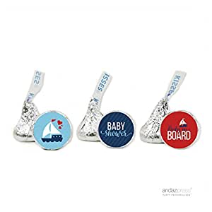 Andaz Press Nautical Baby on Board Boy Girl Twins Gender Neutral Baby Shower Collection, Party Chocolate Drop Label Stickers Trio, Fits Hershey's Kisses, 216-Pack, For Ocean, Sailboat, Mermaid Favors