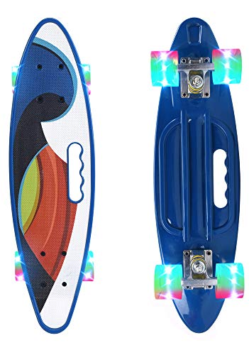 ChromeWheels Skateboard 22 inch Complete Skate Board Mini Cruiser with LED Light Up Wheels for Kids Boys Youths Beginners