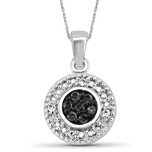 Jewelexcess 1/10 CTW Black & White Diamond Pendant in Sterling (Black & White Diamond Pendant)
