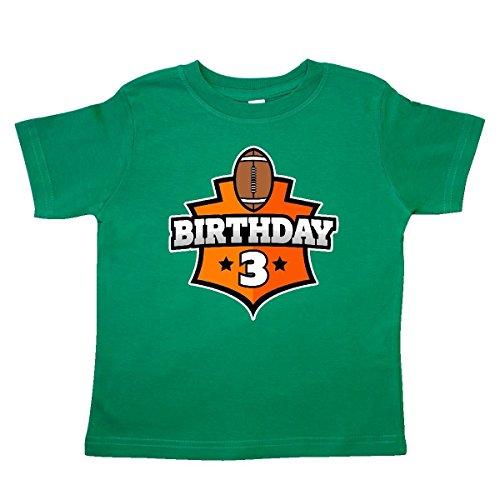 - inktastic - Football 3rd Birthday Toddler T-Shirt 3T Kelly Green 31be8