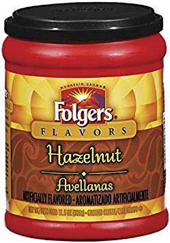 Fresh Taste of Folgers Coffee, Hazelnut Flavored Ground Coffee, Flavorful & Smooth, 11.5 Oz Canister - (3 pk)
