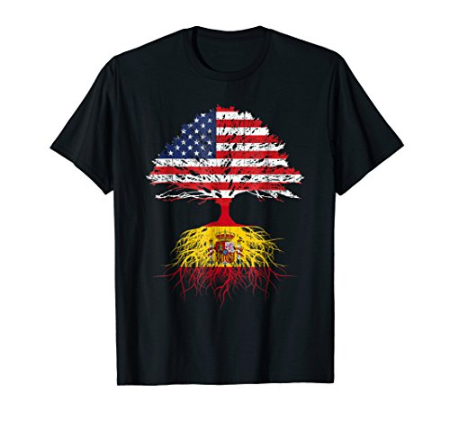 T-shirt Spain Flag - Spanish Roots American Grown Spain Shirt For Men Women Kids