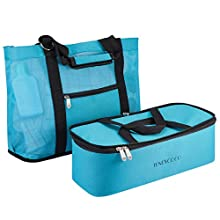 TENDYCOCO Mesh Beach Tote Bag with Insulated Cooler Zipper 2 in 1 Pool Bag for Men Women (Blue)