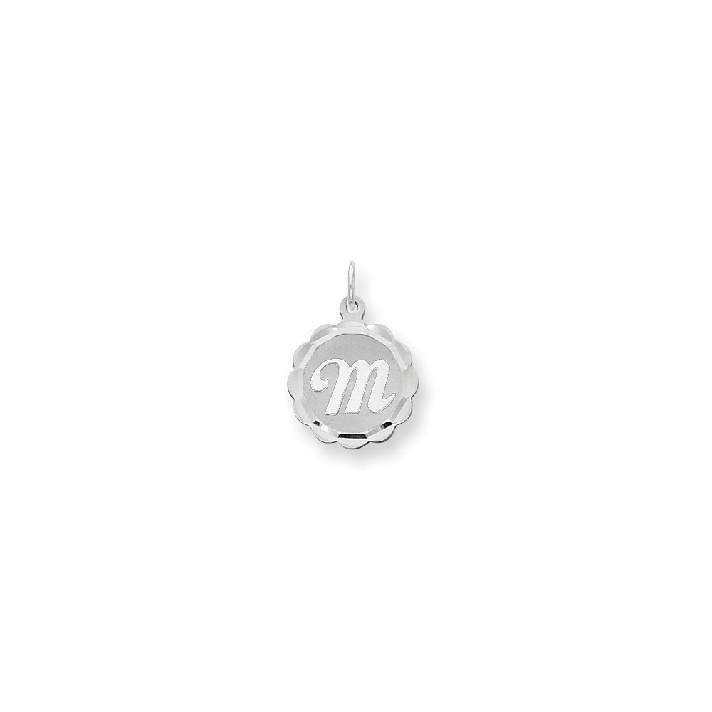 925 Sterling Silver Letter M Pendant Medal Initial Charm Brocaded Lower Case