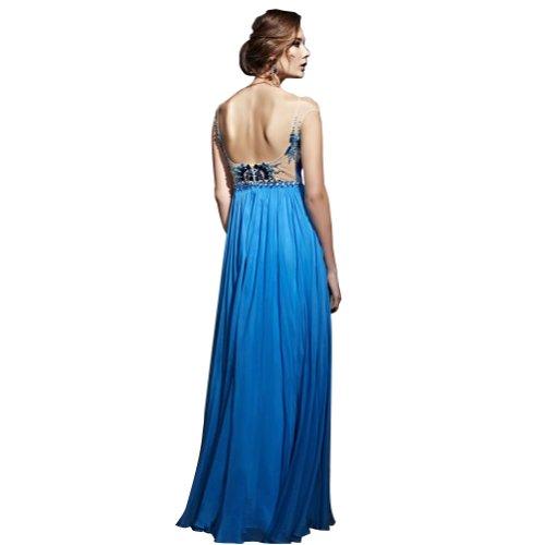 Blau off Mantel Perlen GEORGE bodenlangen SpitzeAppliques Chiffon BRIDE Spalte mit Abendkleid Blau Schulter fqwqRa5