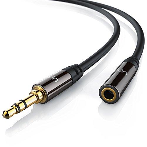 Uplink - 5m Audio Klinken - Verlängerungskabel für AUX Eingänge | Voll-Metallstecker passgenau | 3.5mm Stecker auf 3.5mm Buchse | HQ Premium Series