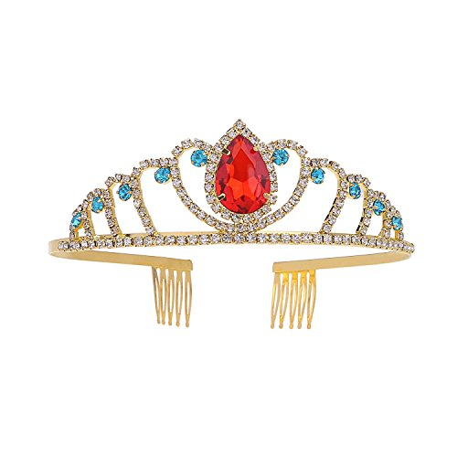 Princess Crown Pin (Gold Costume princess crown With Comb Pin For Girls & Women Red Crystal Bridal wedding Tiara)