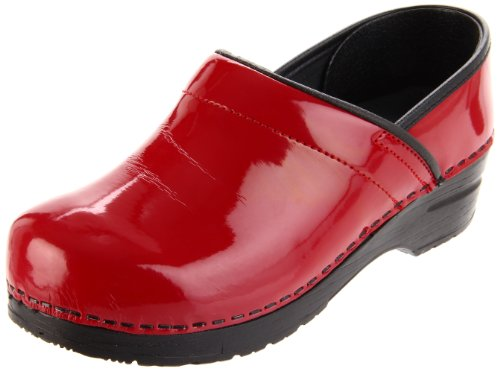 Sanita Women's Professional Patent Clog, Red Patent,38 EU/7-7.5 M (Patent Leather Clogs)