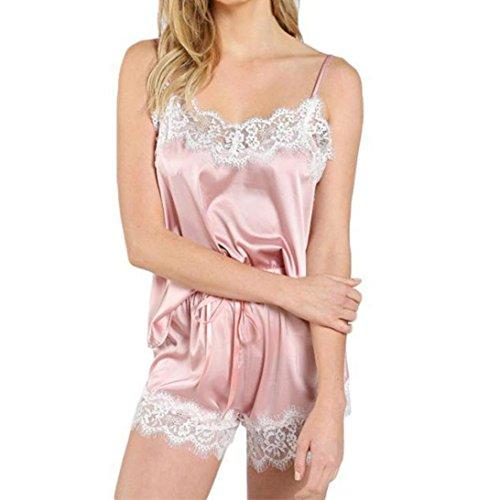 senza maniche Completo in pigiama Lingerie raso pantaloni in Fami donna 2 notte da da Rosa da Donna da Cami sexy notte Top txq7pwP4
