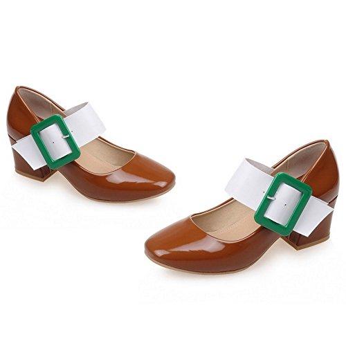 Mary Tacon COOLCEPT Zapatos Marron Mujer Moda Ancho Boca Cerrado Baja Janes Zapatos wE7OqEB