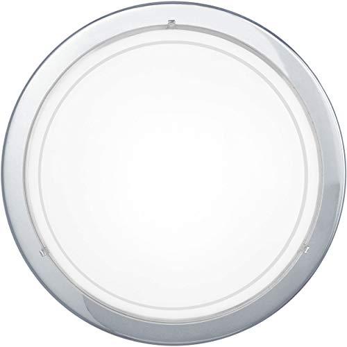 EGLO plafondlamp PLANET 1, 1 lichtbron wandlamp, stalen plafondlamp, kleur: chroom, glas: wit gelakt, fitting: E27
