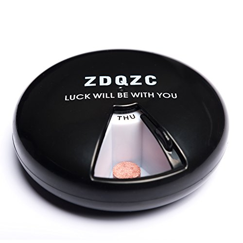 Pills Organizer, ZDQZC Weekly Pills Dispenser, Travel Pills Box, Plastic Pills Case Medicine Storage Container, Black