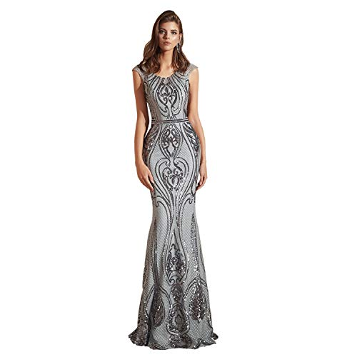 Leyidress Women's Sexy Sequins Trumpet Mermaid Dresses Evening Dress Long Party Prom Gown 2 Silver