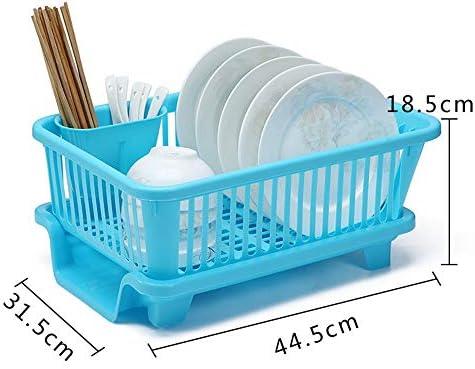 ドレンラック 排水板が付いている皿の乾燥の棚、台所カウンターのための道具ホルダーが付いている皿の水切りの乾燥の棚 道具収納ホルダー (Color : Blue, Size : Free size)