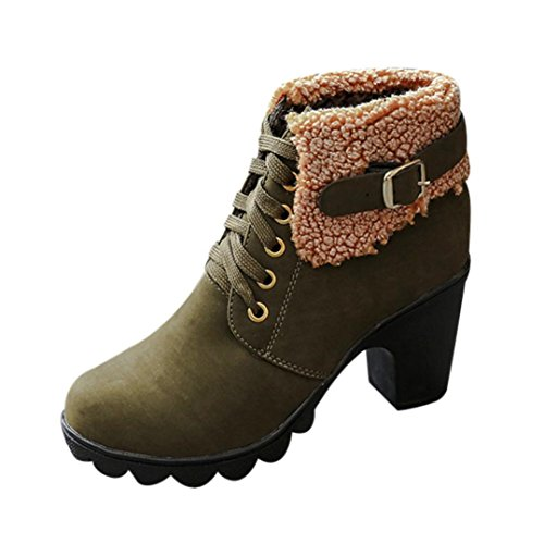 Lace High Platform Binmer TM Army Womens Martin up Plush Green Boots Heels Winter wxIZ4q