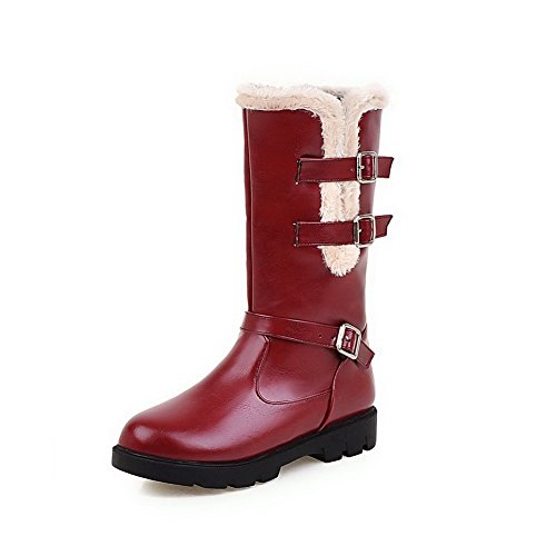AmoonyFashion Womens Low-Heels Soft Material Low-Top Solid Buckle Boots Claret