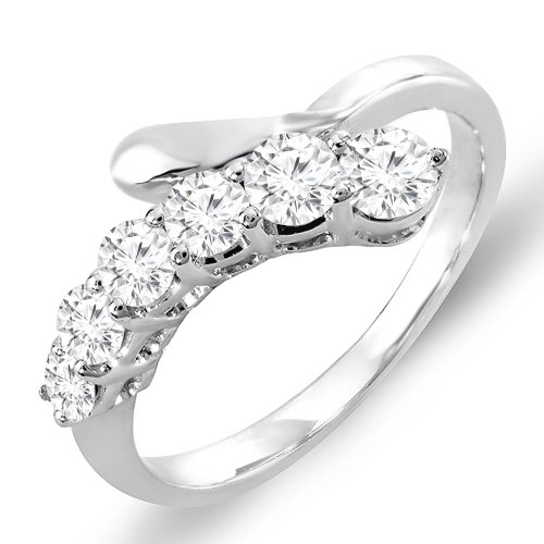0.75 Carat (ctw) 14K White Gold White Round Diamond Ladies Journey Ring 3/4 CT