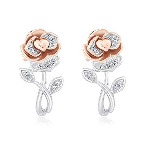 Enchanted Disney Fine Jewelry Belle's Rose Earrings 1/20ctw