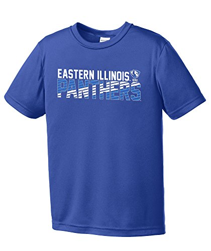 NCAA Eastern Illinois Panthers Youth Boys Diagonal Short sleeve Polyester Competitor T-Shirt, Youth Medium,Royal