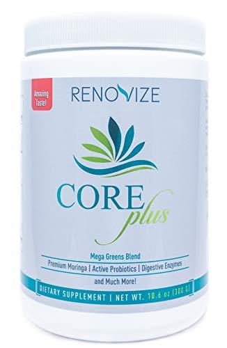 CORE Plus - Superfood Greens Powder Supplement w/ 2000mg Organic Moringa– Green Detox Powder Drink w/Organic Fruit & Veggie Blend, 10 Active Probiotics, Organic Inulin & 6 Digestive Enzymes - 30 Ser