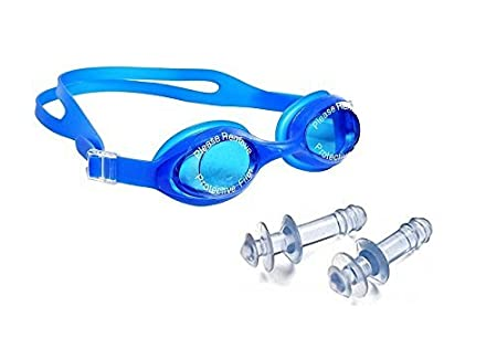 kids blue colourfull Swimming Goggle with Ear Buds Swimming Goggles