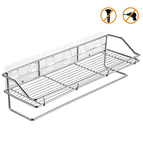 Bathroom Shelf Organizer Shower Caddy with Towel Bar, Wall Mounted Kitchen Storage Rack with Traceless Transparent Adhesive No Drilling SUS304 Stainless Steel