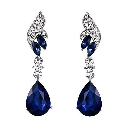 BriLove Silver-Tone Dangle Earrings for Women Wedding Bridal Crystal Floral Leaf Scroll Teardrop Chandelier Earrings Navy Blue Sapphire Color ()