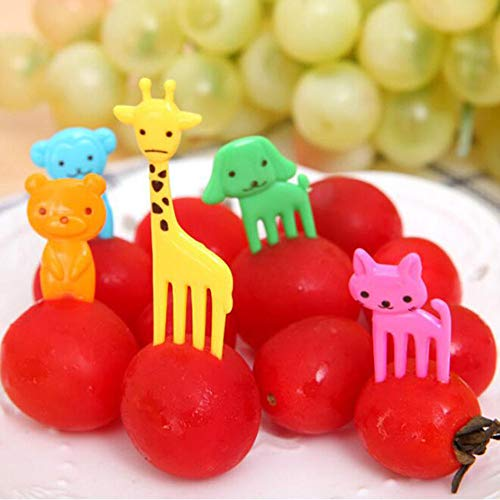 Hot Sale!DEESEE(TM)36Pcs Lovely Animal Food Fruit Forks Decor Animal Mini Cartoon Toothpick Lunch Decor