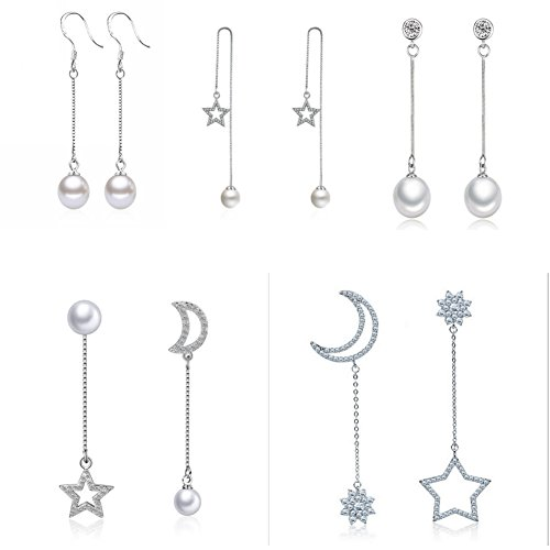 ISAACSONG.DESIGN 925 Sterling Silver Pearl Long Dangle Drop Earring for Women Crystal Moon Star Charms