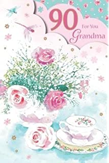 For You Grandma 90 90th Happy Birthday Flowers Teacup Design Good Quality Card With A