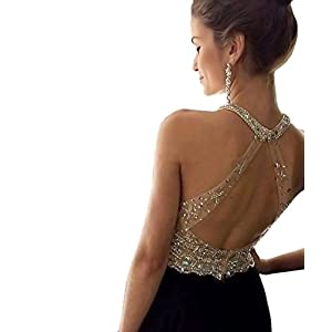 YuNuo Sparkly Crystal Beading Prom Dresses Long 2019 Sexy Open Back Party Ball Gown Scoop Bridesmaid Dresses…
