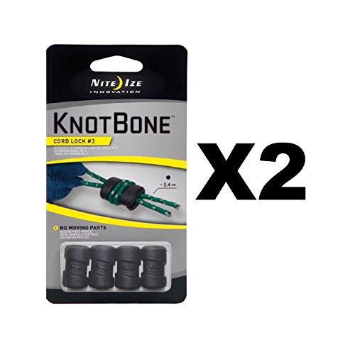 Nite Ize KnotBone Cord Lock #3 Black Knot-Free Light Durable (2-Pack of 4)