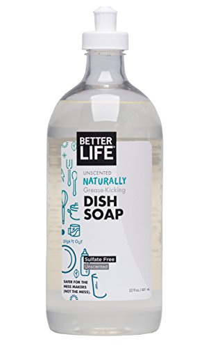 Better Life Sulfate Free Dish Soap, Tough on Grease & Gentle on Hands, Unscented, 22 Ounces, 2406H (Best Organic Dish Soap)